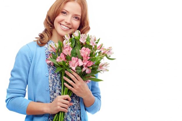 Dia feliz com flores