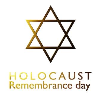 Dia internacional da lembrança do holocausto, estrela de david em fundo branco, isolado