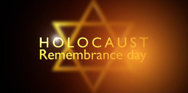 Dia internacional da lembrança do holocausto, estrela de david em fundo escuro