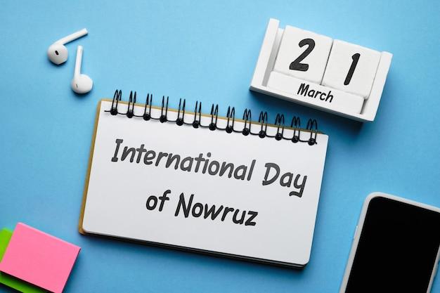 Dia internacional de nowruz de março do calendário do mês da primavera.