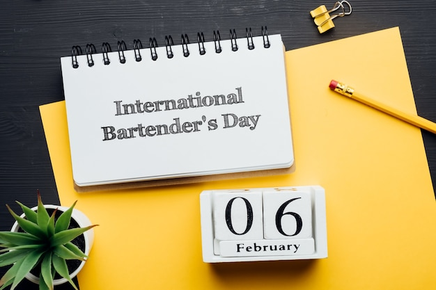Dia internacional do barman do calendário do mês de inverno, fevereiro.