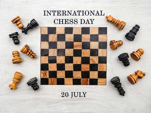 Dia internacional do xadrez. lindo cartão