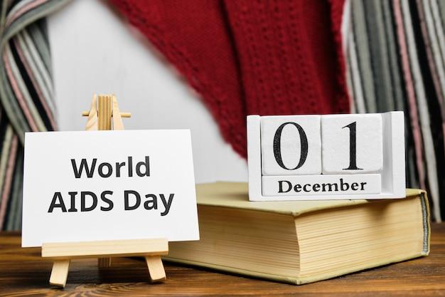 Dia mundial da aids do calendário do mês de inverno, dezembro.