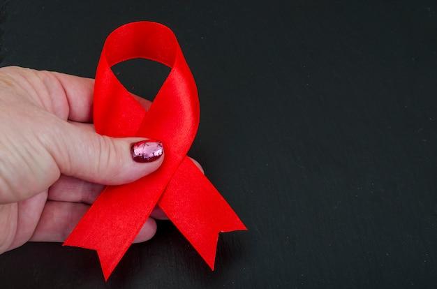 Dia mundial da aids, fita vermelha, símbolo.