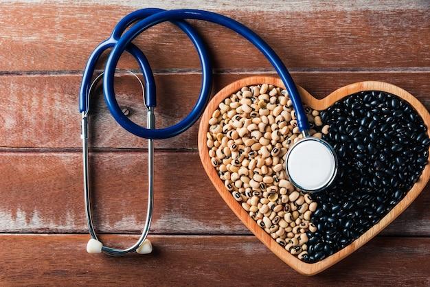 Dia mundial da alimentação, feijão preto e sementes de soja ou branco