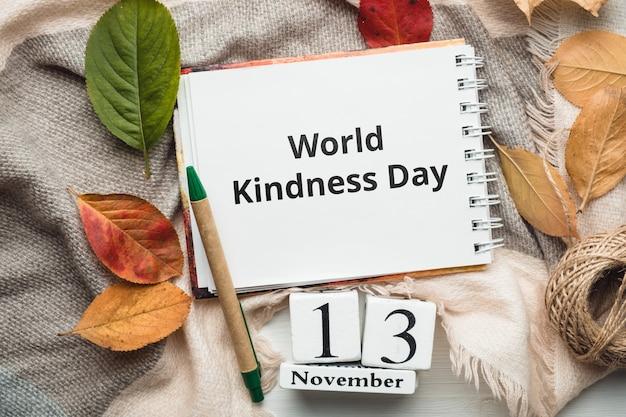 Dia mundial da bondade do calendário do mês de outono de novembro.