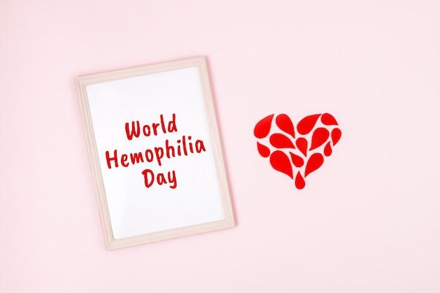 Dia mundial da hemofilia, plano de fundo do dia mundial da hemofilia, pôster de conscientização da hemofilia gotas vermelhas coração e mundo de texto