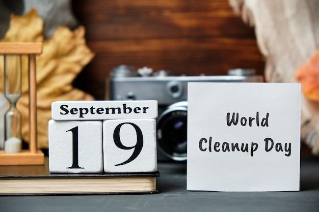 Dia mundial da limpeza de setembro de calendário do mês de outono.