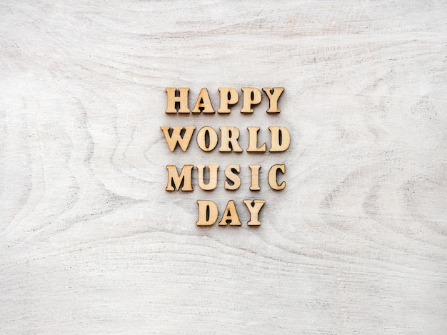 Dia mundial da musica. cartão de felicitações fechar-se