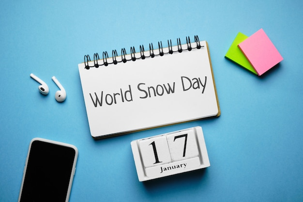 Dia mundial da neve de janeiro de calendário do mês de inverno.