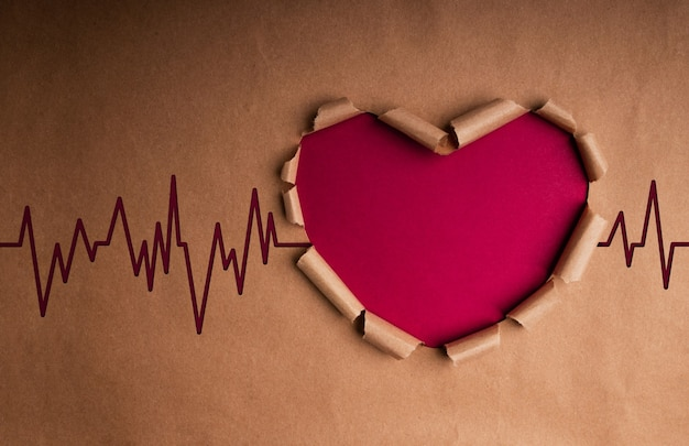 Dia mundial da saúde. conceito internacional do dia mundial do coração. papel artesanal como formato de coração com taxa de batimento e estetoscópio dentro. vida, amor e cuidado. vista do topo