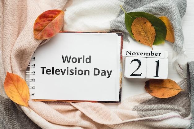 Dia mundial da televisão do calendário do mês de outono de novembro.