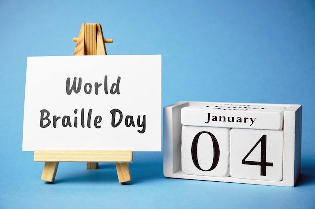 Dia mundial de braille de janeiro de calendário do mês de inverno.