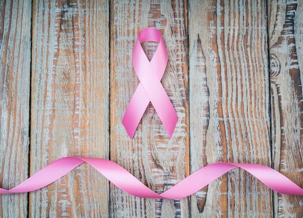 Dia mundial do câncer: fita da consciência do cancro da mama na madeira backgr