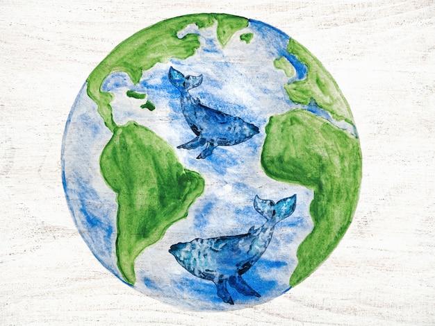 Dia mundial do oceano. cartão bonito e brilhante