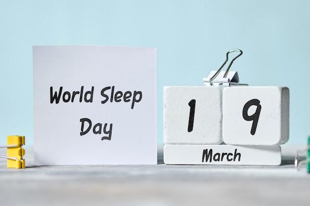 Dia mundial do sono em março no calendário