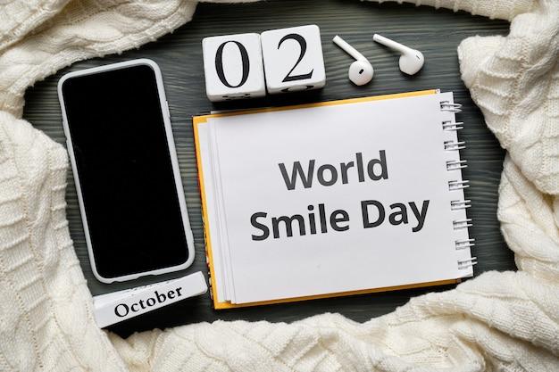 Dia mundial do sorriso do calendário do mês de outono de outubro.