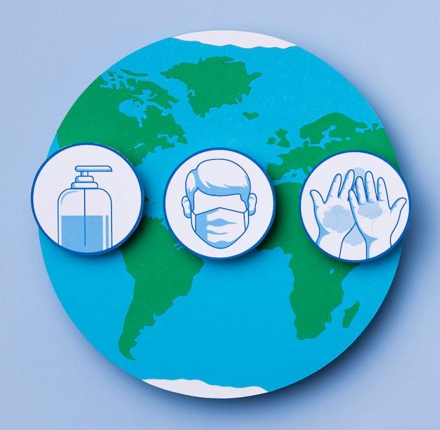 Dia mundial do turismo com logotipos covid-19