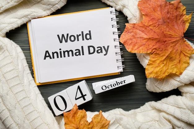 Dia mundial dos animais do calendário do mês de outono de outubro.