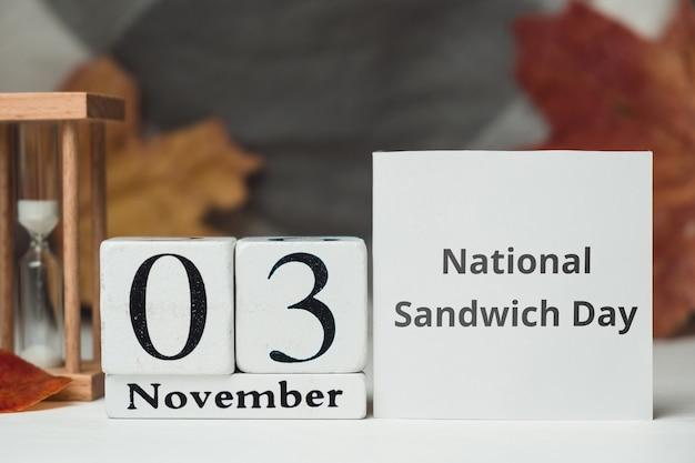 Dia nacional do sanduíche do calendário do mês de outono de novembro.