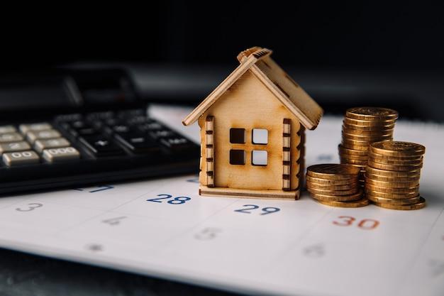 Dia para pagar a hipoteca, compra de planejamento de uma nova casa ou imóveis