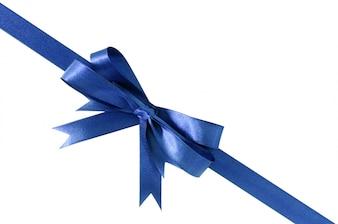 Diagonal profunda do canto da curva da fita do presente dos azuis marinhos isolada no branco.