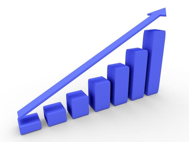 Diagrama 3d com o progresso crescente. conceitos de negócios