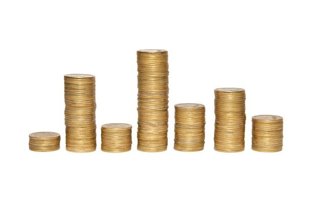 Diagrama de conceito de dinheiro comercial de moedas de ouro isoladas em branco