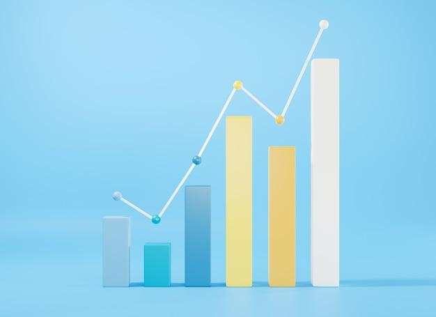 Diagrama de crescimento do gráfico de barras ilustração de renderização 3d de elementos infográficos