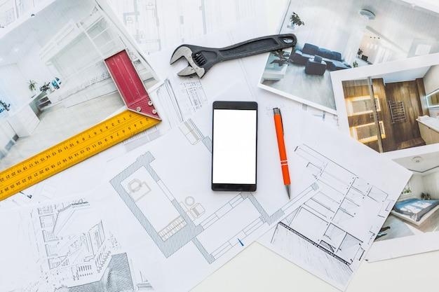 Diagrama de engenharia blueprint paper esboçar projeto esboço