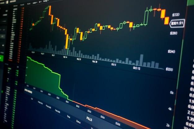 Diagrama de mercado de ações e gráfico na tela