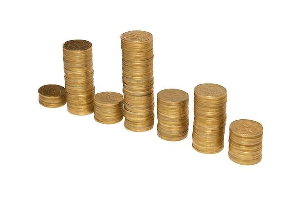 Diagrama de moedas de ouro isoladas em branco.