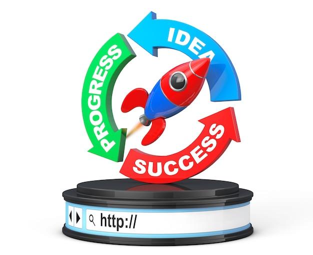Diagrama de setas de progresso, ideia e sucesso com foguete sobre a barra de endereços do navegador