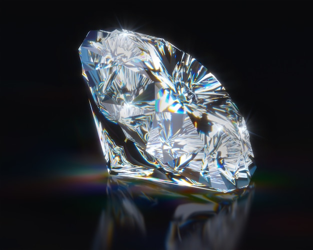 Diamante na superfície reflexiva preta