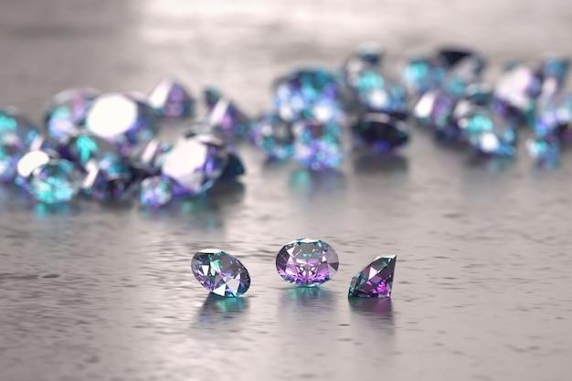 Diamantes azuis e roxos colocados no fundo brilhante, ilustração 3d, foco seletivo.