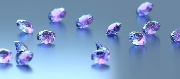Diamantes azuis e roxos colocados