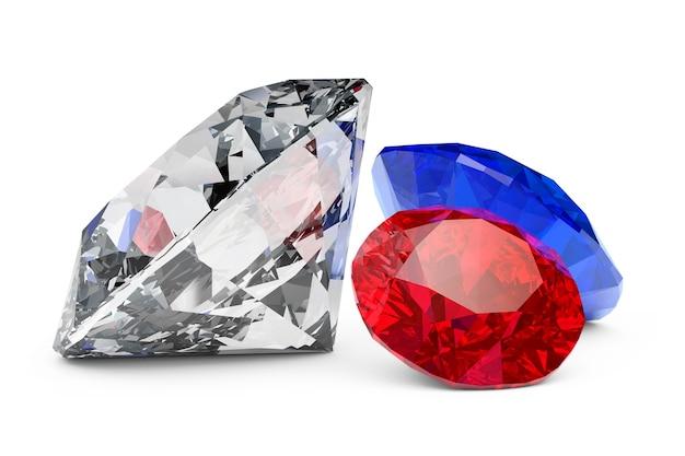 Diamantes brilhantes em um fundo branco