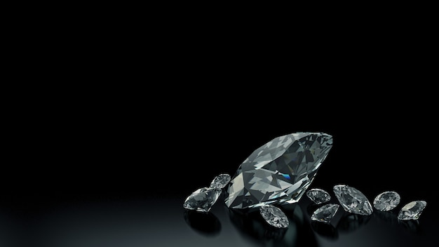 Diamantes luxuosos em fundos pretos