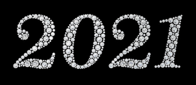 Diamantes numeral 2021 no preto