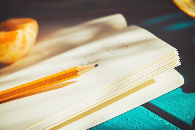 Diário aberto com um lápis sobre uma mesa.