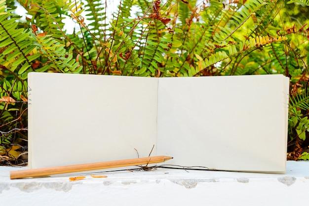 Diário, lápis e plantas