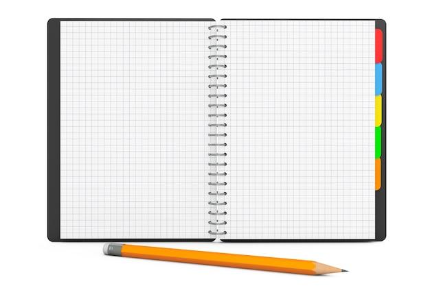 Diário pessoal ou livro organizador com páginas em branco e lápis sobre fundo branco. renderização 3d