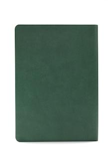 Diário verde isolado no fundo branco
