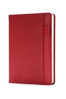 Diário vermelho isolado no fundo branco