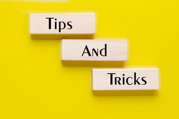 Dicas e truques mensagem de texto em blocos de madeira