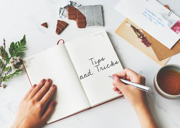 Dicas e truques sugestão clue instruction advice concept