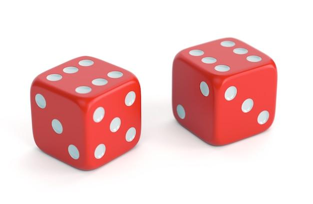 Dices vermelhos isolados no fundo branco. conceito de jogo, jogos de tabuleiro, casino e sorte. ilustração 3d