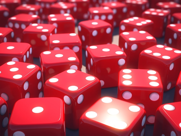 Dices vermelhos. renderização em 3d