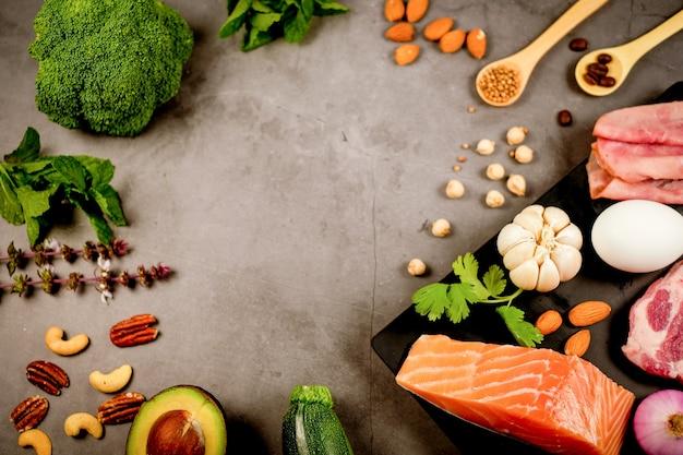 Dieta cetogênica, baixo teor de carboidratos e ceto. nutrição e contagem de calorias para fibras, proteínas e gorduras. programa de perda de peso. comida paleo.