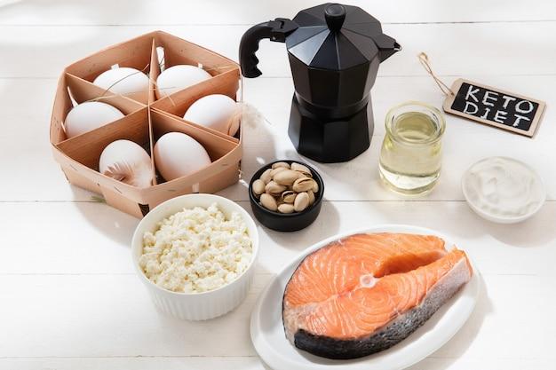 Dieta cetogênica com baixo teor de carboidratos - seleção de alimentos na parede branca